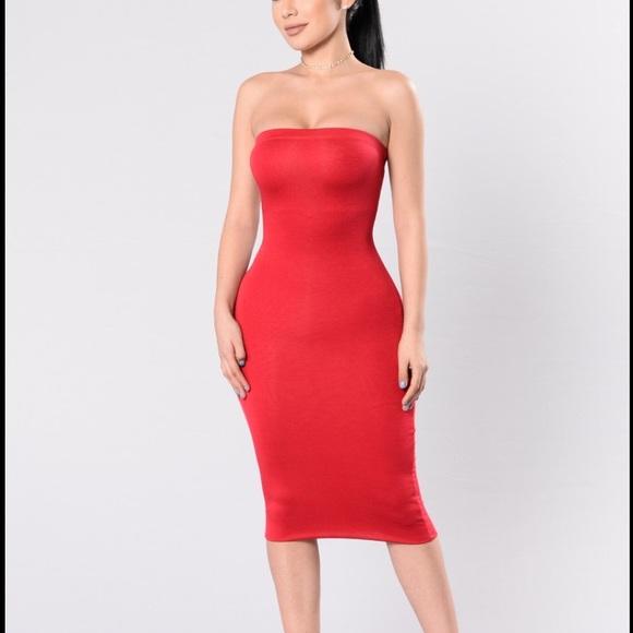a30a562e5c3 Fashion Nova Dresses   Skirts - Red tube top midi dress